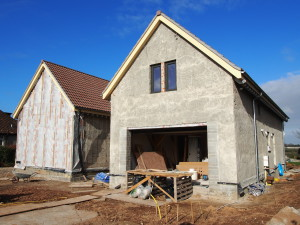 A new build hempcrete house under construction