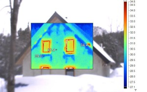 Building monitoring helps us to understand how the invisible elements of heat and moisture move through our buildings. This IR image of a straw bale building shows likely moisture spotting in the exterior plaster, as revealed by a difference in surface temperature (photo courtesy of  Brad Cook)