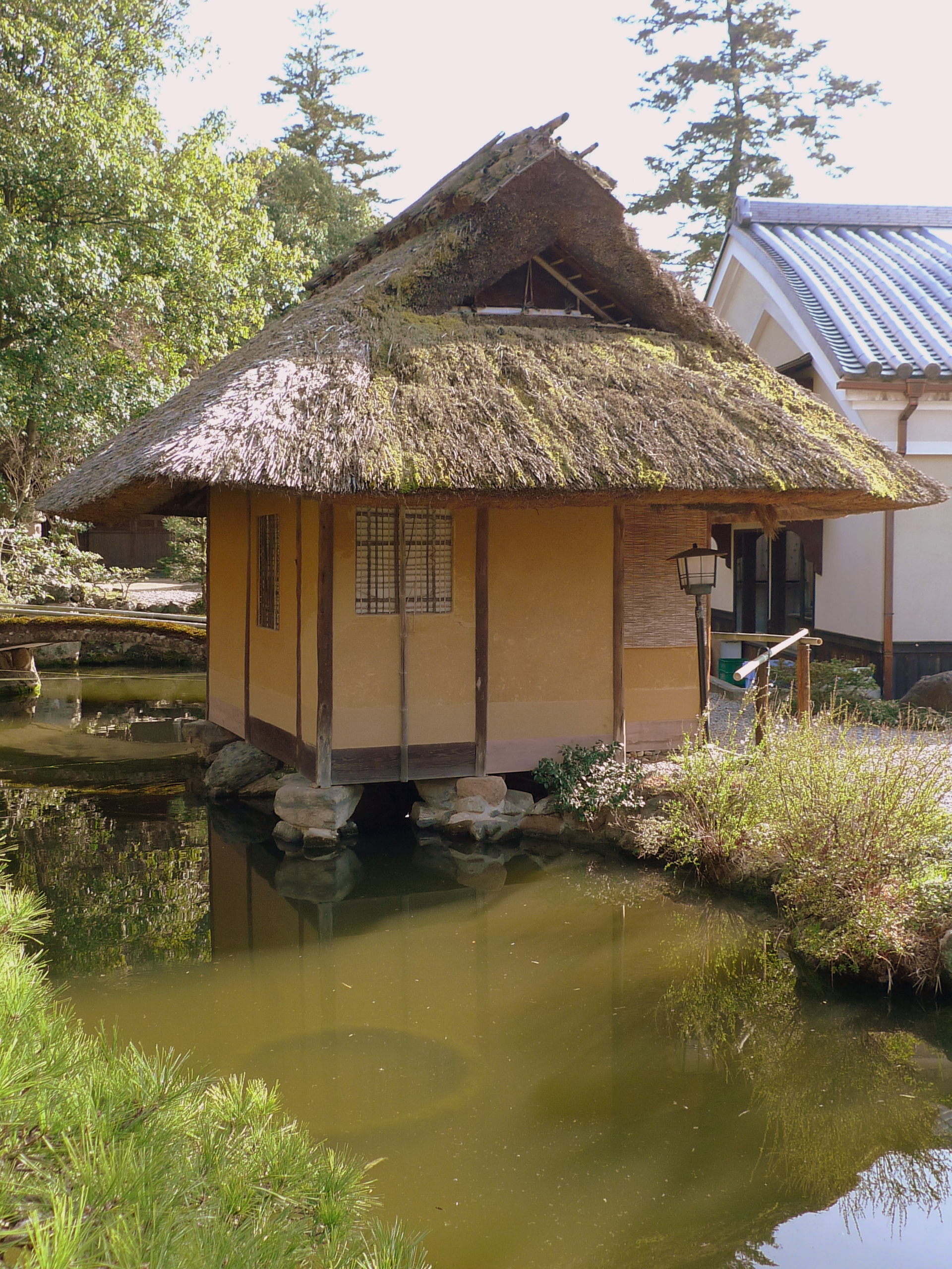 Tea house built over pond