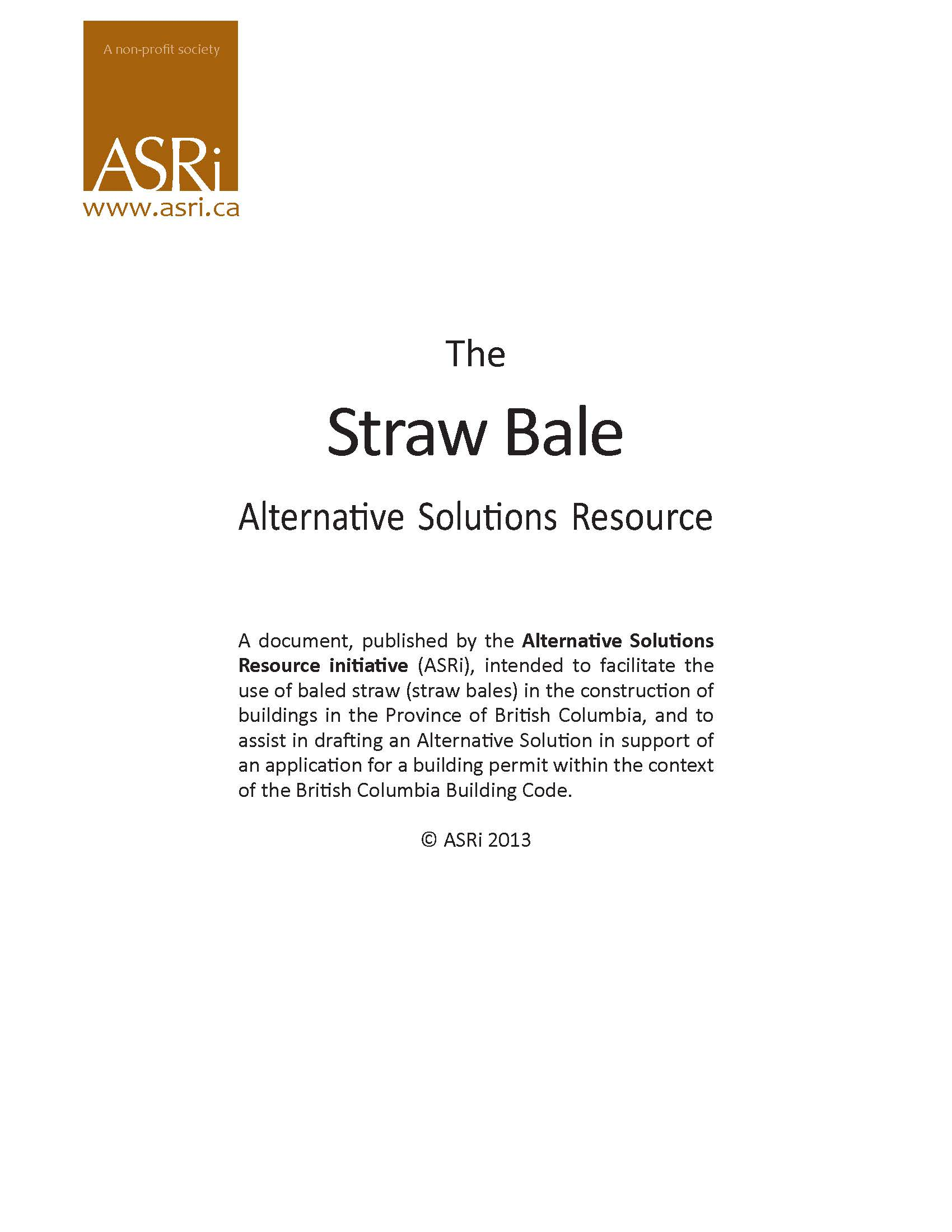 Publication Review: The Straw Bale Alternative Solutions Resource by ASRI