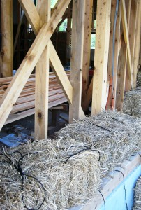 Straw Bales Stacked on the Outside of a Conventional Timber Frame in Minamiboso City, Chiba Prefecture