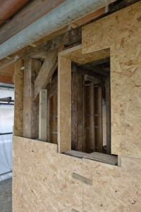 Shuttering under construction for a hempcrete wall.